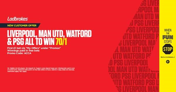 Saturday 19th January  Ladbrokes offer: (Max £1 bet)
